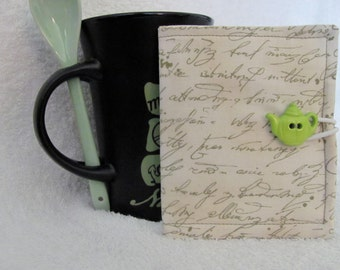 Fabric Wallet/Gift Card/Credit Card Holder Cute Green Word Fabric/Coordinating Green and Mocha Fabric Green Teapot Button White Elastic Loop