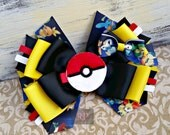 Stacked Boutique Hairbow with Pokemon Felt Clip Center - ComicCon Hair Clip - PokemonGo HandSewn Bow - Gamer- RTS (Ready to Ship)