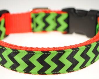 """Chevrons Lime Green and Black 1"""" Adjustable Dog Collar"""
