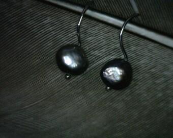 Pearl Dangle Earrings Grey Body Color with Sterling Silver Shepherds Hook, Semi-Baroque 8mm long, 1 Inch Long