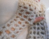 Arm Warmers Fingerless Gloves in Thick Pink Grey & White Icelandic Yarn Blend  with Acrylic White Ruffled Top