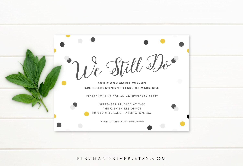 25th Wedding Invitations: Printable Anniversary Party Invitation 25th By Birchandriver