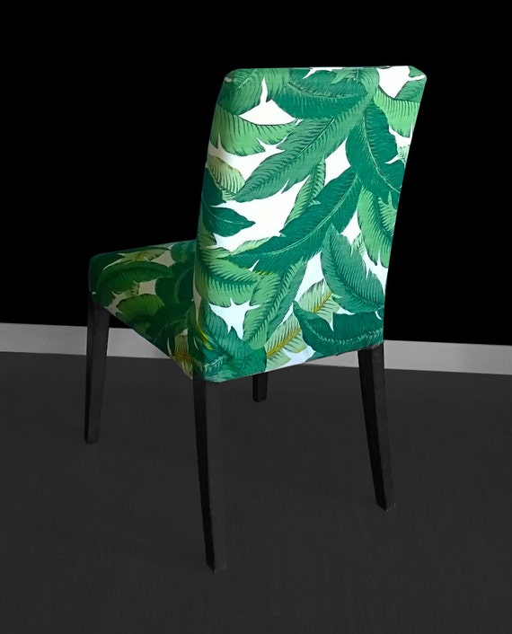 Leaf Print IKEA HENRIKSDAL Dining Chair Cover Bespoke Leaves Henriksdal Covers Jungle Ikea Custom Decor