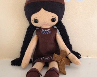 Catholic Toy Doll - Kateri Tekakwitha - Wool Felt Blend - Catholic Toy - Felt Doll