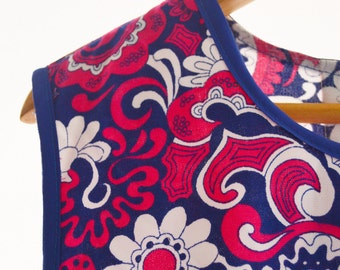 Retro Paisley/Floral Blue and Pink Tunic