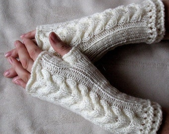 Fingerless Gloves Mittens White Arm Warmers Acrylic Wool