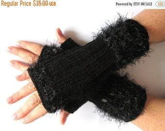 Fingerless Gloves Dark Gray Arm Warmers Mittens Knit, Wool Acrylic