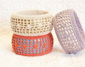 Crochet Lace on Wood Statement Bracelet