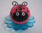 Pink Ladybug Desk Flower / Ladybug Paper Weight