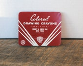 Vintage Crayola Colored Drawing Crayons in Red Tin Binney & Smith Inc.