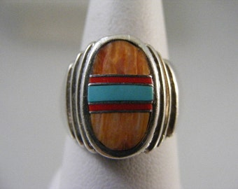 Vintage Southwest Spiney Oyster, Turquoise and Coral Inlaid Ring..... Lot 4412