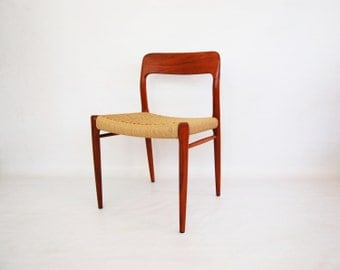 Danish Modern Teak Dining Chairs Model 75 by J L Moller - 2 Available
