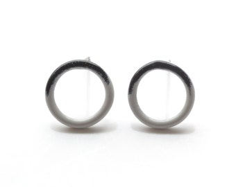 black and grey circle stud earrings, delicate wire circles with hypoallergenic surgical steel posts, powder coated jewellery, SALE 50% OFF