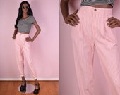 90s Light Pink Gingham Print High Waisted Mom Jeans/ 26 Waist/ 1990s
