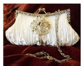 Bridal clutch, wedding clutch, Crystal clutch, vintage inspired evening bag, white clutch, bridal bag