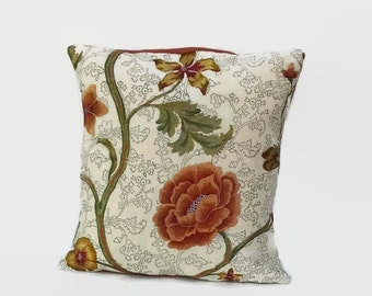 Orange Floral Embroidered Eco Friendly Throw Pillow Cover 16 X 16 Upcycled