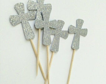 Silver Cross, cupcake toppers, baptism, first communion, bautizo, primera comunion, Set of 12
