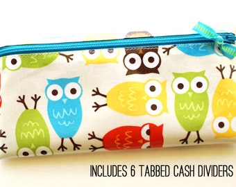 Cash envelope system budget wallet with 6 tabbed dividers | owls, green, teal, red, yellow, brown, laminated cotton