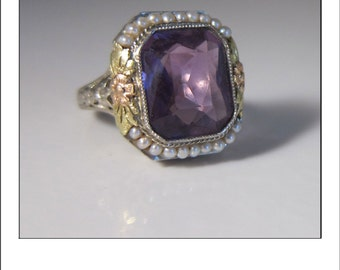 Antique Art Deco 14k Amethyst Seed Pearl Ring with Yellow and Rose Gold detailed rosettes