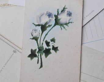 Antique 1930's Hand Painted Postcard.Flowers.