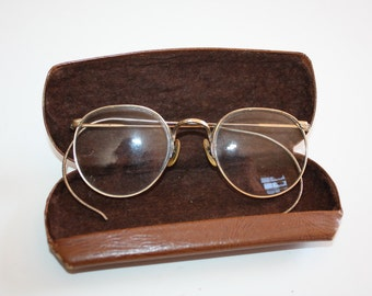 Vintage Glasses Wire Frame Gold Filled With Case