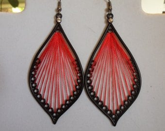 Beautiful Black and Red Leaf Thread Earrings Native, Hippie, Boho, Southwestern, Gypsy, Great Gift Ready to Ship
