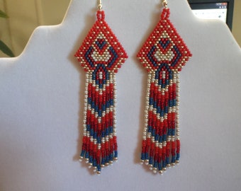 Native American Style Seed Beaded Red Earrings Shoulder Duster Brick Stitch, Gypsy, Boho, Peytote, Southwestern,Great Gift Ready to Ship