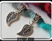 dreadlock beads cuff charm dreads ethnic nature leaf bead silver