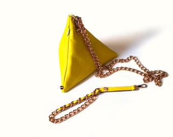 Detachable three way carry pyramid clutch in neon yellow/lime leather- Ready to Ship