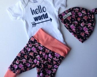 Newborn baby going home set/floral hello world hospital set