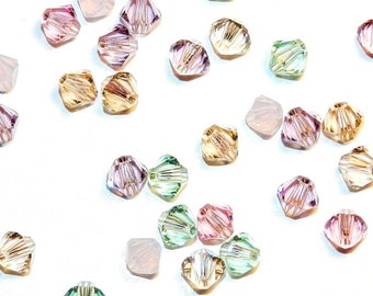 Swarovski Crystal Xillion Bicone 4mm Beads Mix Assortment 144 pcs 1 gross (5328) TENDERNESS Collection Pastels