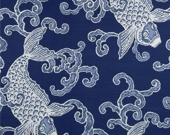 """Two 96"""" x 50""""  Custom Lined  Curtain Panels  -  Pisces Koi - Baltic Blue"""
