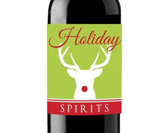 Rudolph Holiday Spirits Christmas Wine Labels - Unique Christmas Gift - WEATHERPROOF and REMOVABLE - Wine Bottle Labels - Christmas Wine
