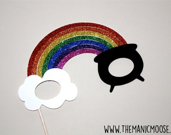 Over The Rainbow Photo Booth Props - Rainbow Glitter Glasses - St. Patty's Day Props - Irish Photo Booth Props