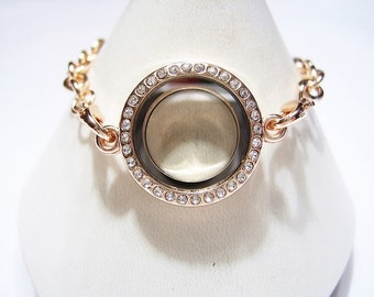 1 Crystal Face, FLOATING Locket Bracelet, ROSE GOLD tone, Large Link Braclet with Lobster Clasps and Finisher Heart