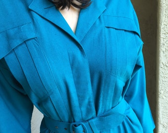 Georgiou jumpsuit pantsuit raw silk Naturelle deep turquoise with 2 belts 1970s 1980s vintage size S small dark turquoise