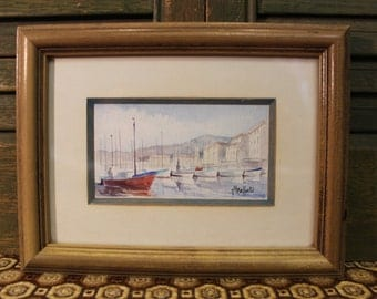 Vintage Watercolor Painting - Small Painting - Boats - Saint Tropez