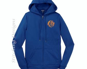 Full Zip hoodie, WOMEN'S, Hoodie Jacket,Monogrammed sweatshirt,  Monogram or Greek letter included, Moisture wicking fleece, 6 colors