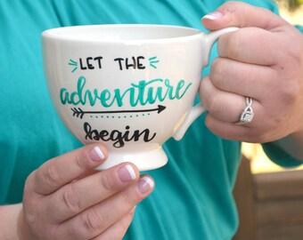 """Hand Lettered """"Adventure"""" Coffee Mug"""