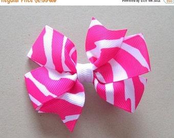 "ON SALE CLEARANCE Zebra Hair Bow - Pink Zebra Bow - 3"" or 4"" Medium Pinwheel Bow - Hot Pink Zebra Stripes"