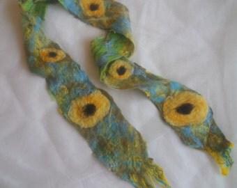 Felted, cobweb, scarf, merino wool, yellow, green, blue - Sunflowers