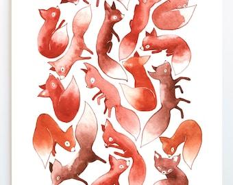 Art Print, Sleepy Foxes Watercolor Painting, Animal Art