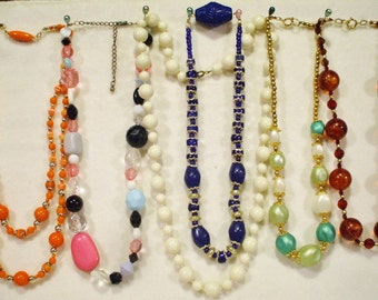 6 Vintage Single strand beaded necklaces