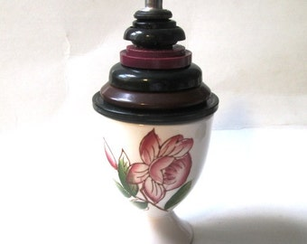 Vintage Button Ring and Proposal Box:  Rose Red, Green and Black Vintage Button and Vintage Red Roses Porcelain Egg Cup Jewelry Box