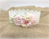 Vintage Lace Newborn Crown, Birthday Crown, Toddler Crown, Dollcake Crown, Dollcake Ballerina, Pink and White