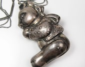 Vintage Sterling Silver Teddy Bear Necklace Repurposed Baby Rattle Mom To Be!