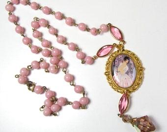 Handmade Vintage Pink Japanese Glass Beads Crystal Erte Deco Lady Pendant OOAK