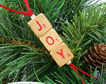 JOY Christmas Ornament - Scrabble RSVP Cube Ornament, Stocking Stuffer, Package Tie-On, Co-Worker Gift