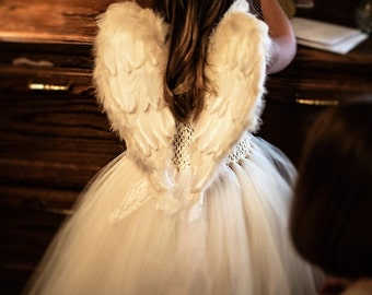 Christmas SALE! Heart Shaped Angel Wings FREE halo Baby Toddler Child Adult Beautiful Wedding FlowerGirl Costume Cosplay Photo Prop flexible