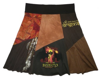 Harry Potter Plus Size 2X 3X Upcycled Hippie Skirt Women's recycled t-shirt clothing from Twinkle